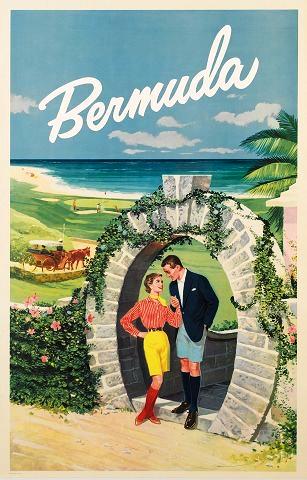 Bermuda Werbeplakat 50er Jahre
